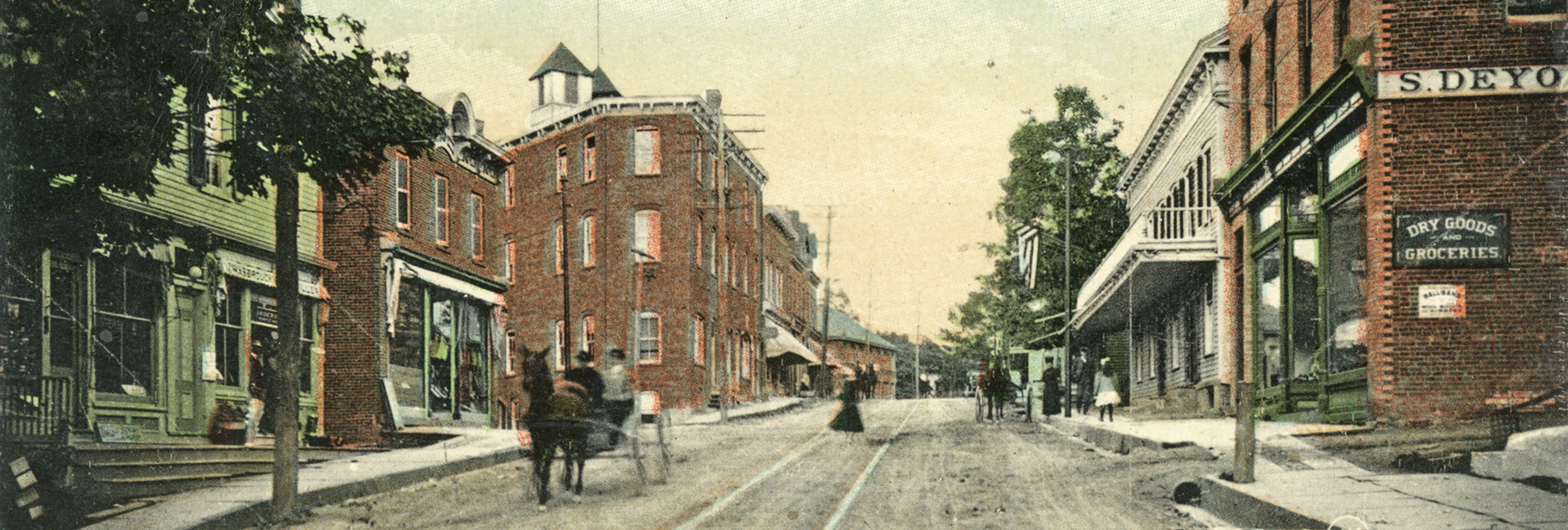 historic postcard of Main Street in New Paltz