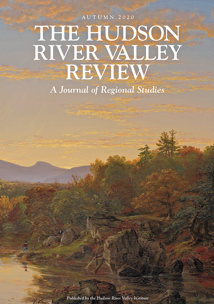 image of the cover, showing a detail of Thomas Cole's painting of Catskill Creek with a boulder and two people in the foreground, the Catskill Mountain escarpment in the background