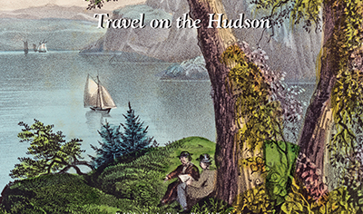 detail of Currier & Ives print with sailboats in the Hudson Highlands