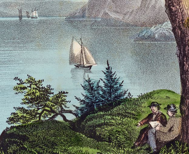 detail of courier and Ives print showing two men on a bluff overlooking the Hudson River through the mountains of the highlands. Sailboats are on the river in the midground and distance.