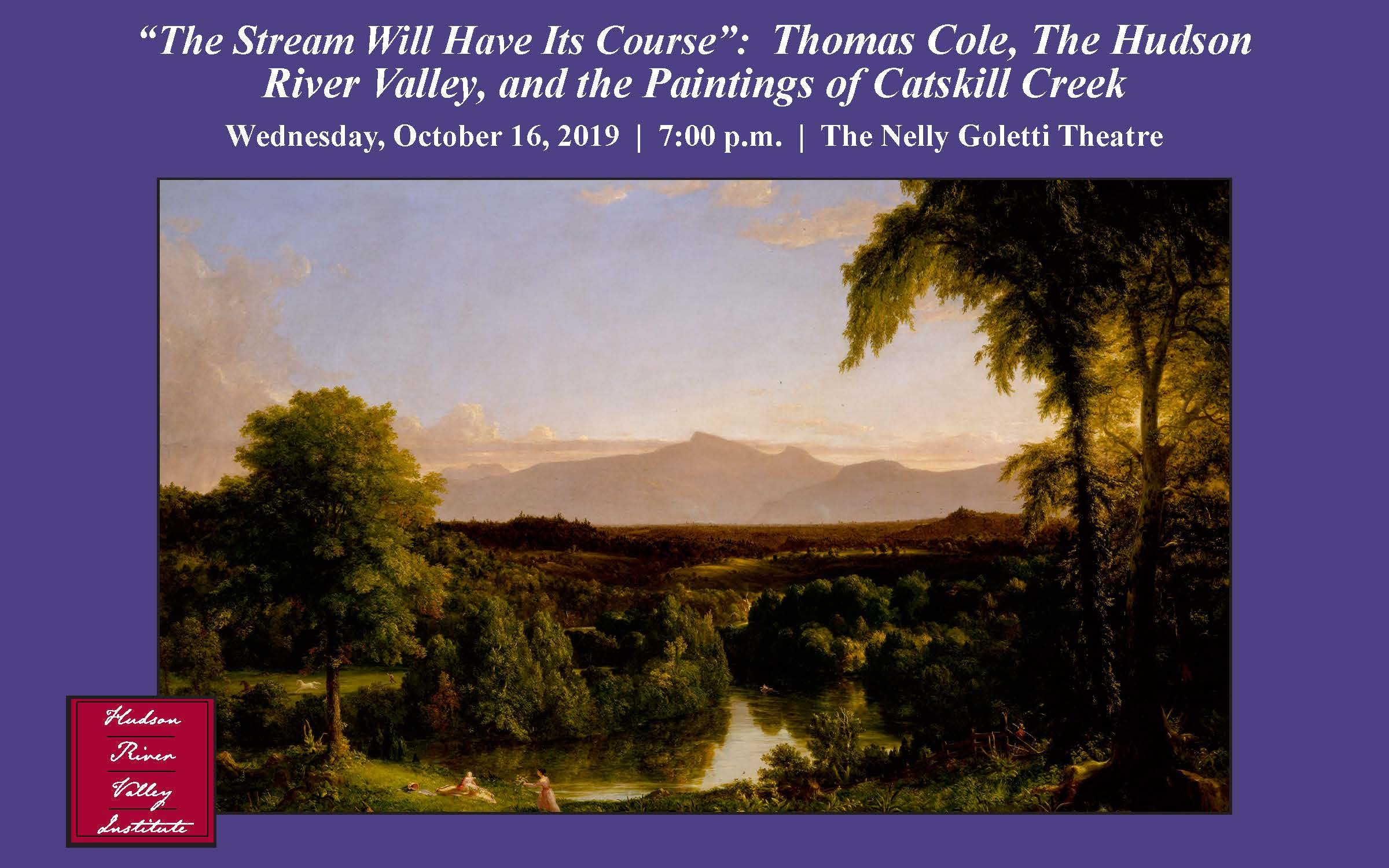 lecture postcard including one of Thomas Cole's paintings of the Catskill Creek