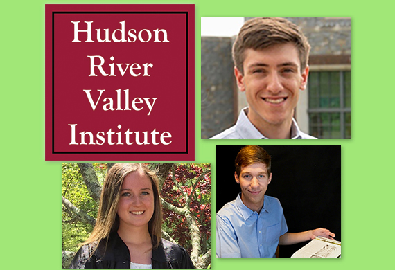 HRVI logo and photos of three students