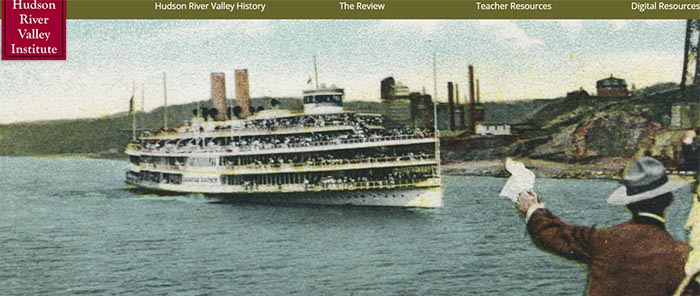 website navigation and image of a ship launching with crowd waving on shore