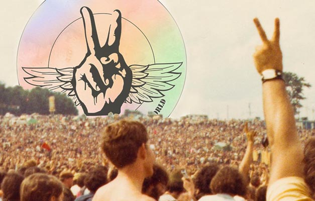 conference logo super-imposed on the horizon of an original Woodstock crowd photo